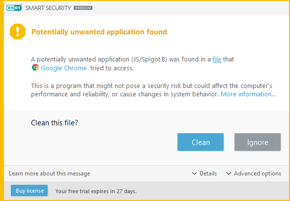Search.hemailaccessonline.com is blocked by ESET and marked as JS/Spigot.B
