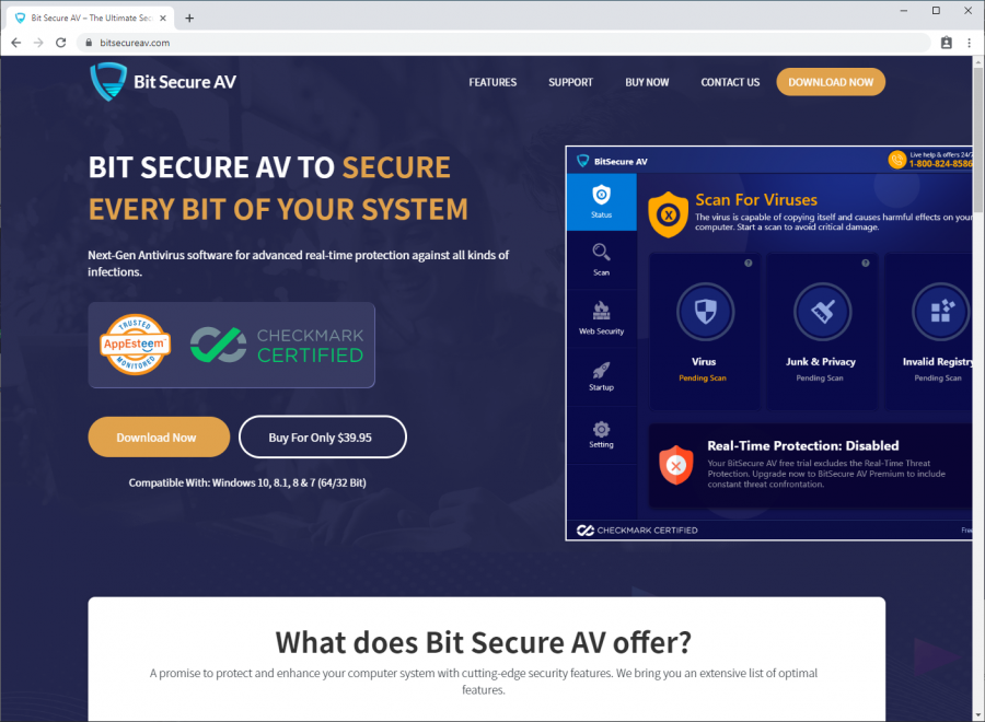 Bitsecureav.com shows fake badges of AppEsteem and Checkmark certifications without providing evidence that these certifications are valid