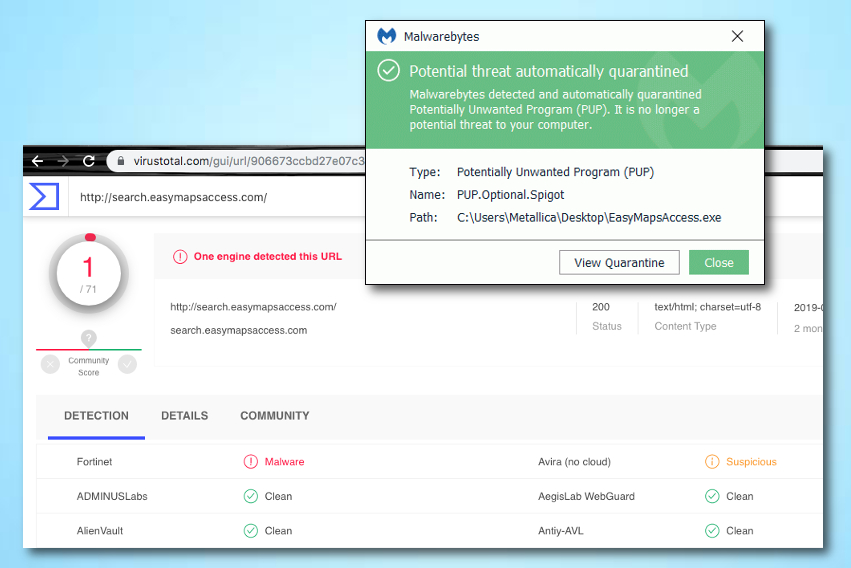 The site has been flagged as suspicious by Malwarebytes and some other AV engines