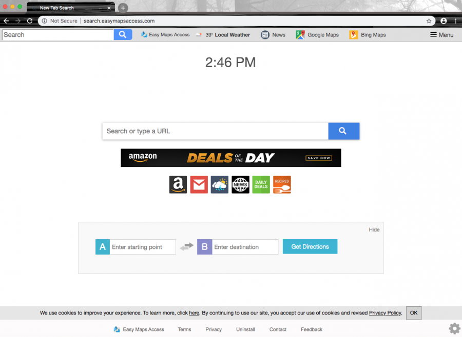 The app is able to change major browser settings such as the search provider, homepage, and new tab search