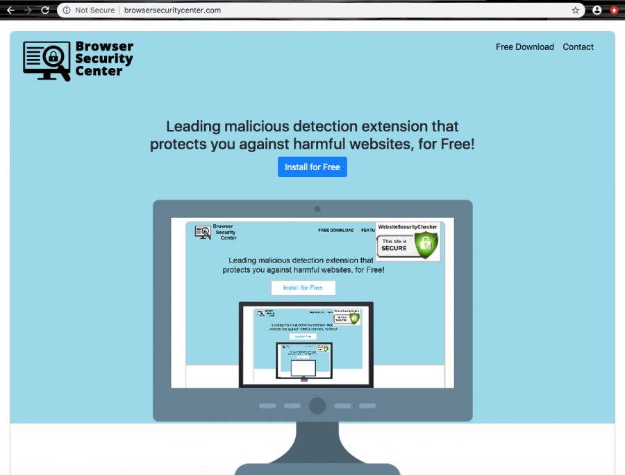 The domain offers downloading a protective extension to the browser app so that it could start its misleading activities and browser changes