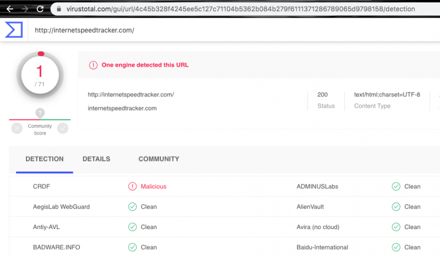 The browser hijacker has been detected as malicious by CRDF AV engine