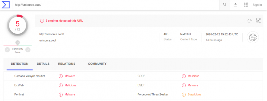 Untsorce.cool is detected as malicious by several anti-malware applications