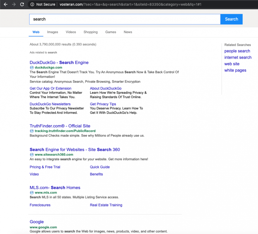 The search engine delivers results filled with commercial content that triggers redirects to suspicious sites