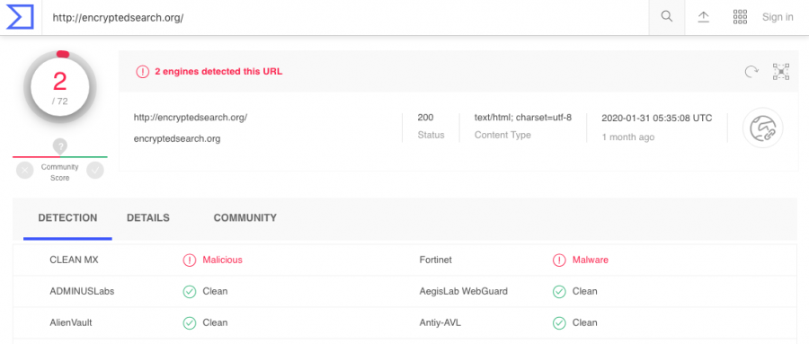 The rogue app has been detected as a malicious product by CLEAN MX and Fortinet antivirus software, according to VirusTotal information