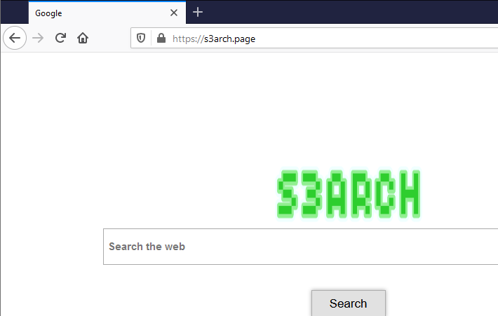 S3arch.page displays Google's name on the browser's new tab