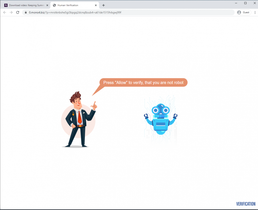 """qdownloader.io redirects users to websites that ask for permission to display notifications. Fake alerts are used to convince the user that pressing the """"Allow"""" button is required"""